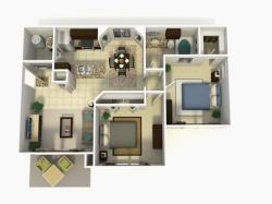 Doral Premium two bedroom one bathroom 3D floor plan