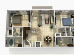 Espana Premium two bedroom two bathroom 3D floor plan
