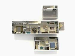 Lisbon Premium two bedroom two bathroom town home with single car garage 3D floor plan