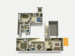 Mallorca Premium two bedroom two bathroom with den and single car garage 3D floor plan