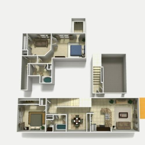 Mallorca Premium two bedroom two bathroom with den and single car garage 3D floor plan
