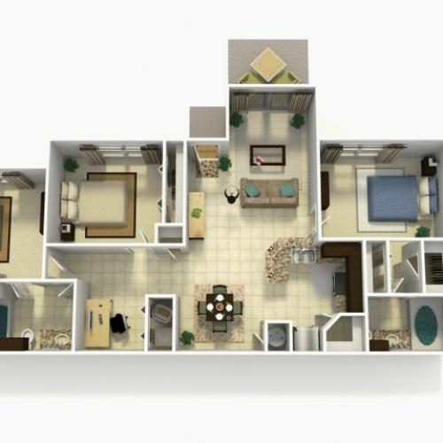 Almeria Premium three bedroom two bathroom with den 3D floor plan