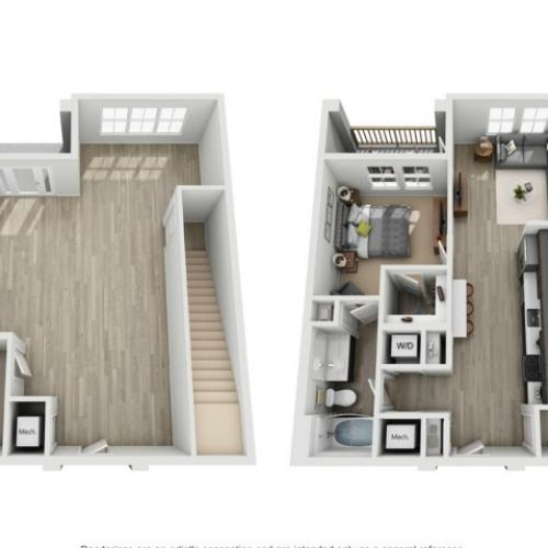 One Bedroom One Bath Loft Apartment | Haven at Indigo Square