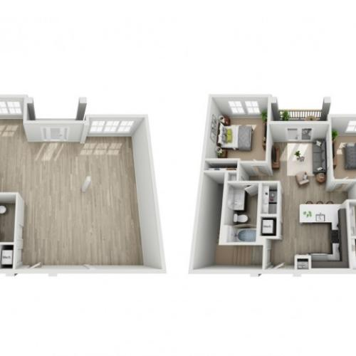 Two Bedroom Two Bathroom Loft Apartment | Haven at Indigo Square