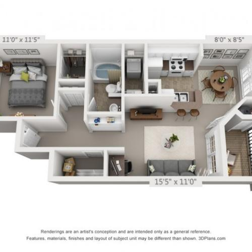 The Tipperary floorplan 1 bed 1 bath 700 sqft