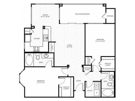 2 Bedroom 2 Bath - B2