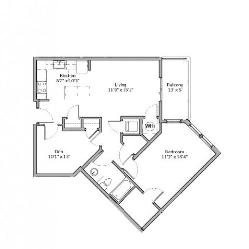 1 Bedroom Floor Plan | apartments in mt lebanon pa | The Ashby at South Hills Village Station 4