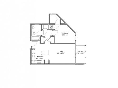 1 Bedroom Floor Plan | apartments in mt lebanon pa | The Ashby at South Hills Village Station 7
