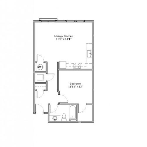 1 Bedroom Floor Plan | apartments in mt lebanon pa | The Ashby at South Hills Village Station 8
