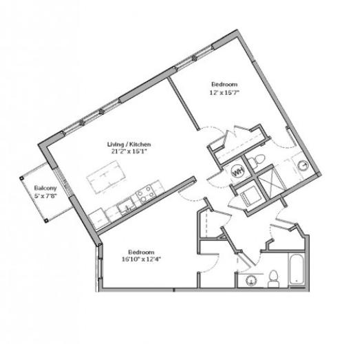 2 Bedroom Floor Plan | apartments for rent bethel park pa | The Ashby at South Hills Village Station 3