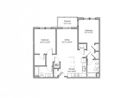 2 Bdrm Floor Plan | apartments for rent castle shannon pa | The Ashby at South Hills Village Station 1