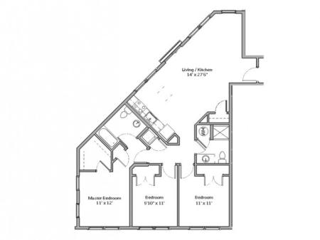 3 Bdrm Floor Plan | apartments in mt lebanon pa | The Ashby at South Hills Village Station 2