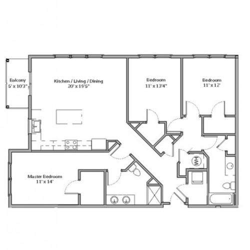 3 Bdrm Floor Plan | apartments in mt lebanon pa | The Ashby at South Hills Village Station 3
