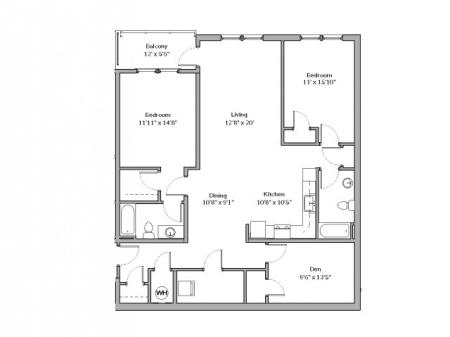 B2.1 - TWO BEDROOM TWO BATH WITH DEN
