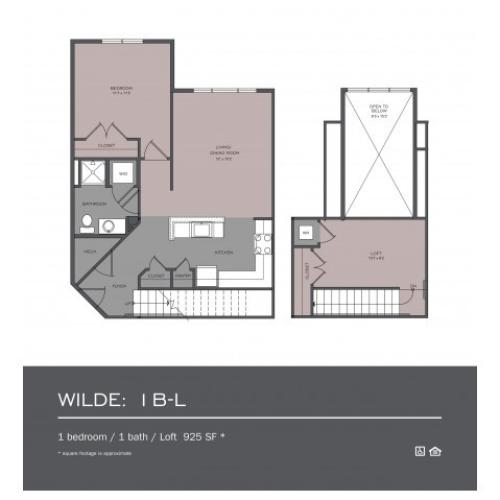 1 Bdrm Floor Plan | rentals frederick md | Prospect Hall