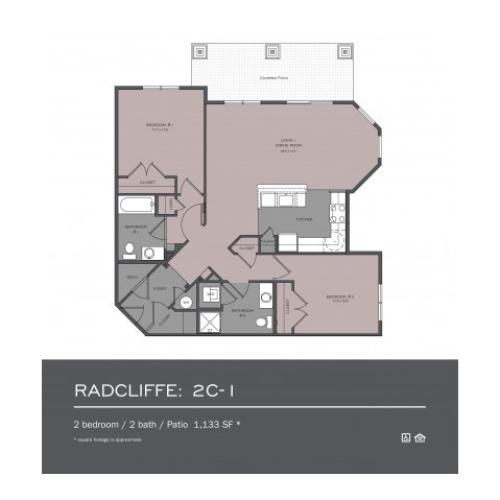 2 Bedroom Floor Plan | frederick md rentals | Prospect Hall