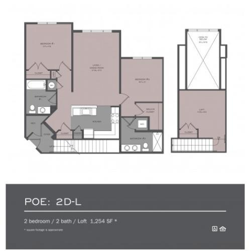 2 Bdrm Floor Plan | rentals In frederick md | Prospect Hall