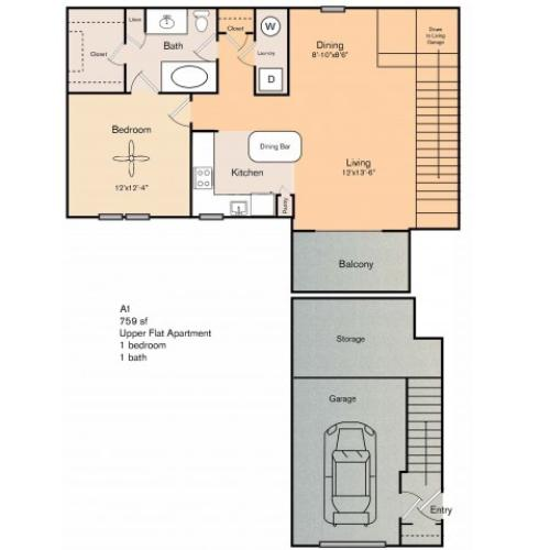 1 bedroom 1 bath apartment with dining area, private patio and 759 square feet. The A1 does not have an attached garage as shown in the picture, but instead will be a third floor walk up and will be carpeted through living and dining areas.