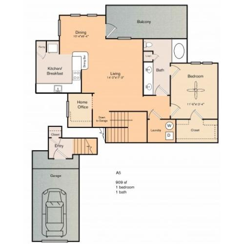 1 bedroom 1 bath apartment with dining area, private patio, storage, garage and 909 square feet. Please note that the A5g floor plan on the 2nd floor will come with the home office and will be carpeted in  the living and dining ares.