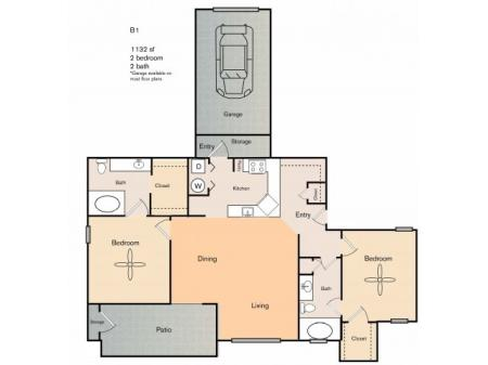 2 bedroom 2 bath apartment with dining area, private patio, storage space and 1132 square feet. B1 floor plan does not have attached garage as shown in the picture.