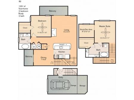 2 bedroom 2 bath two story townhome apartment with kitchen island dining area, private patio, study, storage space, garage and 1231 square feet.