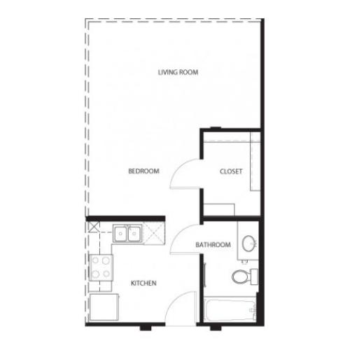 Studio/ one bathroom, kitchen, walk in closet, coat closet, laundry room, E1-5 floor plan, 497 square feet.