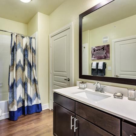 Designer bathroom with luxury tub/shower combo, Premium quartz countertops, faux wood flooring. Custom framed mirror.