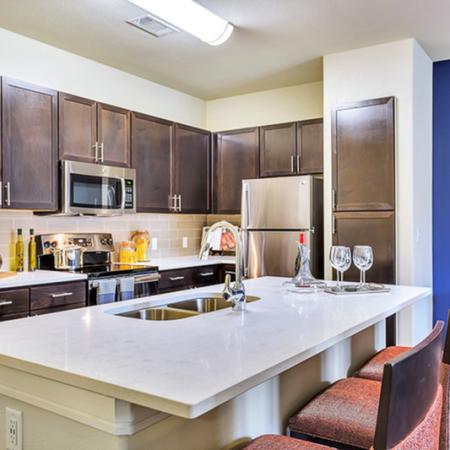 Beautiful  open kitchen. Custom kitchen Cabinets, designer tile backsplash Stainless steel GE appliance package, Premium quartz counter tops