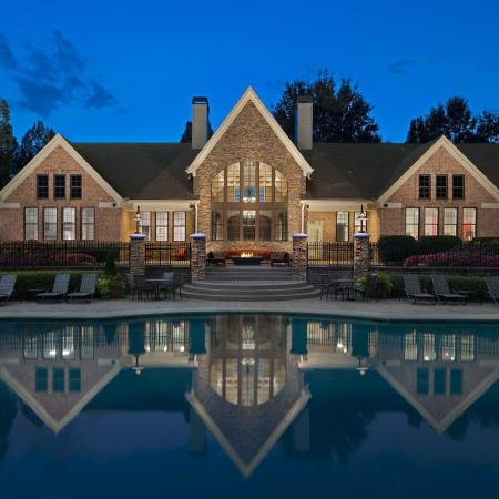 Evening Shot of Pool and Back of Clubhouse