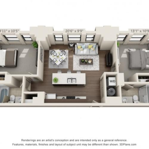 B01-TWO BEDROOMS/ TWO BATHROOMS- 900 Sq. Ft.