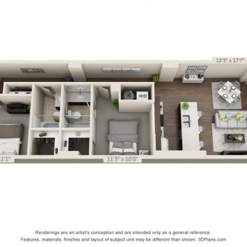 B05-TWO BEDROOMS/ TWO BATHROOMS- 1006 Sq. Ft.