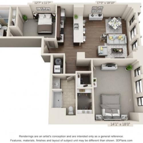 B13-TWO BEDROOMS/ TWO BATHROOMS- 1261 Sq. Ft.