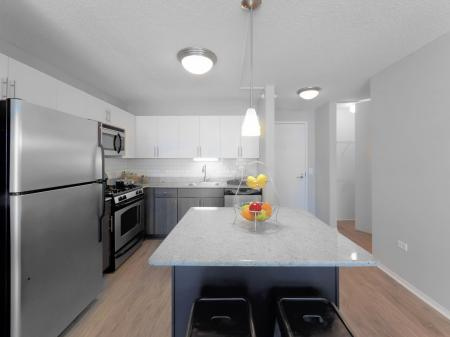 Subway tile back splashes in west loop | 180 North Jefferson Apartments