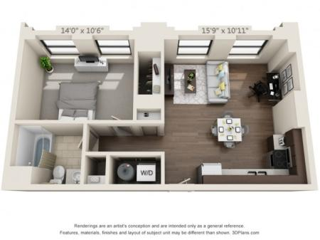 A02-A02-ONE BEDROOM/ ONE BATHROOM- 648 Sq. Ft.