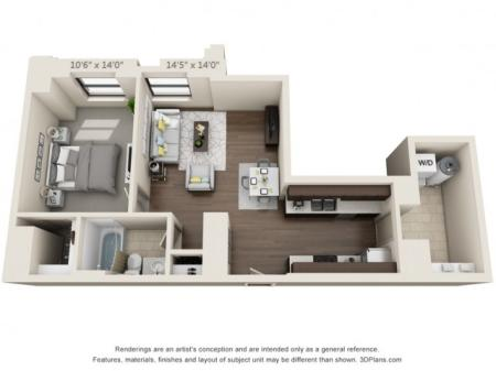 A04-ONE BEDROOM/ ONE BATHROOM- 700 Sq. Ft.