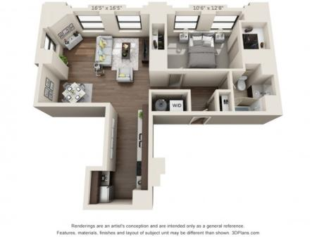 A10-ONE BEDROOM/ ONE BATHROOM- 817 Sq. Ft.