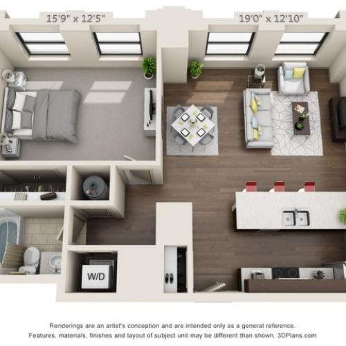 A12-ONE BEDROOM/ ONE BATHROOM- 821 Sq. Ft.