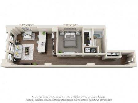 A14-ONE BEDROOM/ ONE BATHROOM- 862 Sq. Ft.