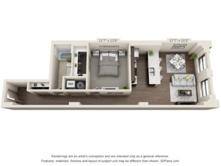 A17-ONE BEDROOM/ ONE BATHROOM- 872 Sq. Ft.