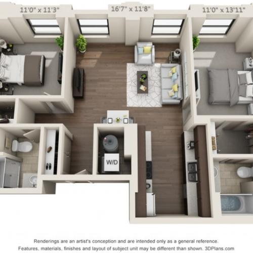 B02-TWO BEDROOMS/ TWO BATHROOMS- 976 Sq. Ft.