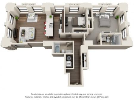 B10-TWO BEDROOMS/ TWO BATHROOMS- 1133 Sq. Ft.
