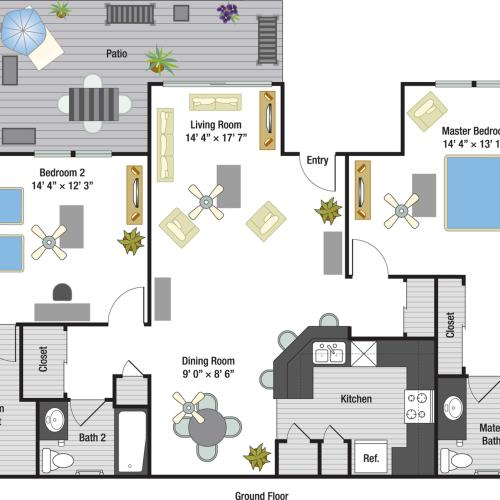 Monaco two bedroom two bathroom floor plan