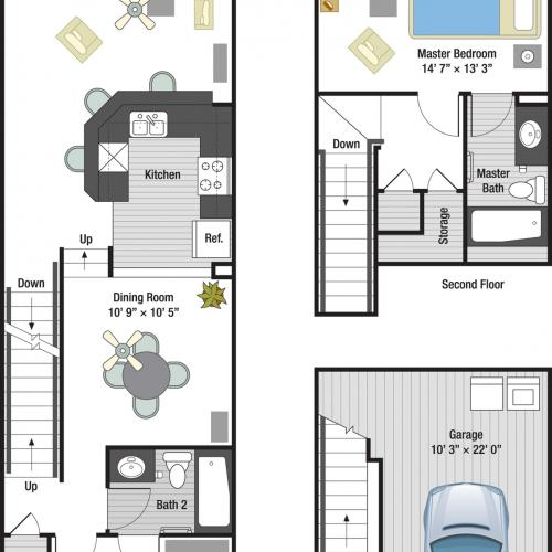 St. Tropez two bedroom two bathroom town home floor plan