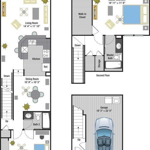 Capri two bedroom two bathroom town home floor plan