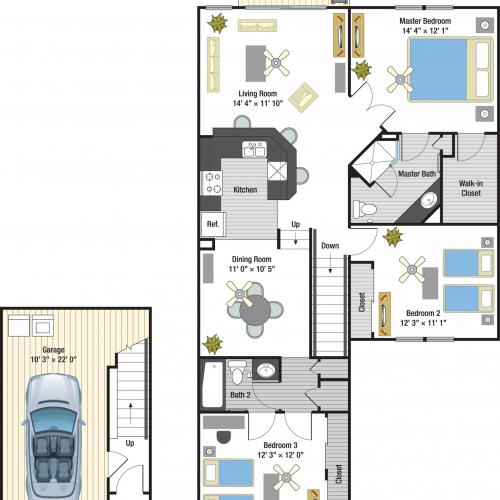 Seville three bedroom two bathroom town home with single car garage floor plan