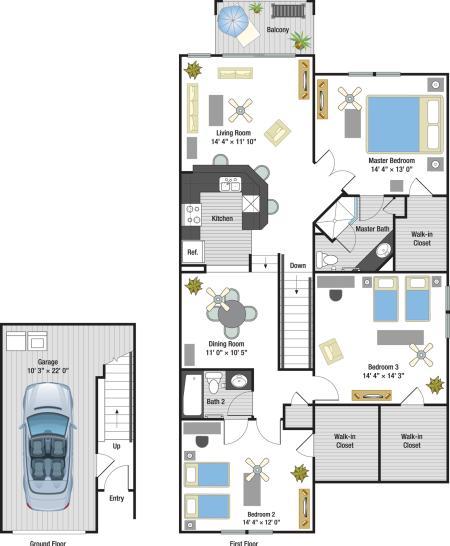 Portofino three bedroom two bathroom town home with single car garage floor plan