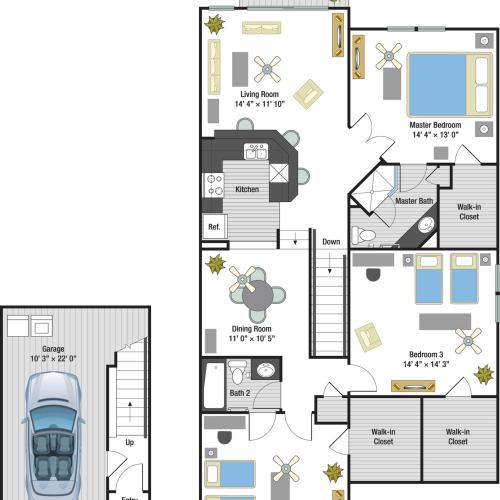 Portofino three bedroom two bathroom town home with single car garage floor plan