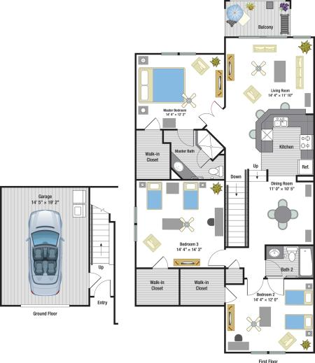Antigua three bedroom two bathroom town home with single car garage floor plan