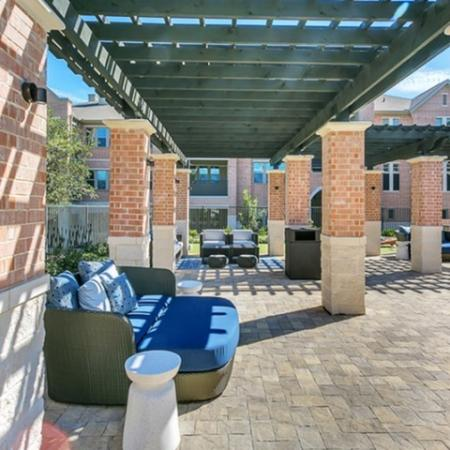 Beautiful view of our large outdoor courtyard. With three sets of outdoor furniture.