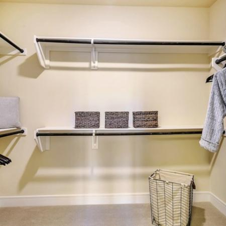 Spacious walk in closet, with ample storage